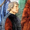 Bartolomeo Platina, fragment fresku Sykstus IV powołuje Bartolomea Platinę na prefekta Biblioteki Watykańskiej, Melozzo da Forlì, Pinacoteca Vaticana
