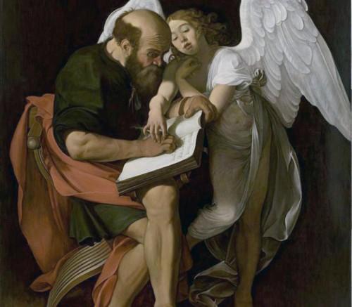 Copy of Caravaggio's painting, St. Matthew with an Angel, Contarelli Chapel in the Church of San Luigi dei Francesi