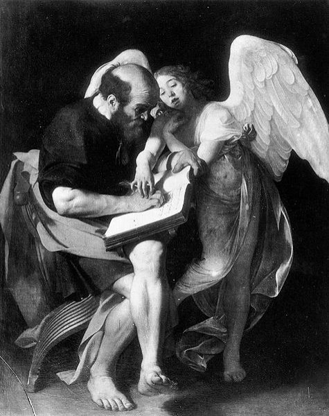 St. Matthew with an Angel, the picture of a lost image of Caravaggio, pic. WIKIPEDIA