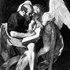 Św. Mateusz z aniołem, zdjęcie zaginionego obrazu Caravaggia, zdj. WIKIPEDIA