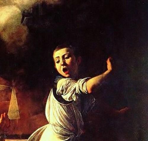 Caravaggio, Męczeństwo św. Mateusza, fragment, kaplica Contarellich, kościół San Luigi dei Francesi