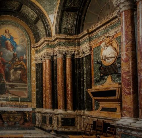 Francesco Cavallini, dekoracje kaplicy Cybo, popiersie kardynała Alderano Cybo, bazylika Santa Maria del Popolo