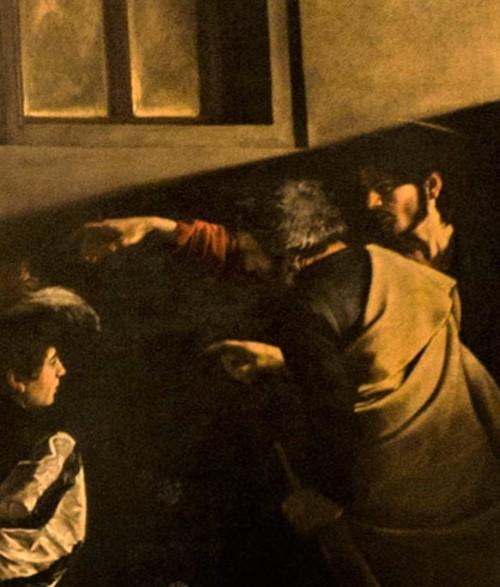 Powołanie świętego Mateusza, Caravaggio, fragment, kościół San Luigi dei Francesi