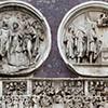 Łuk triumfalny cesarza Konstantyna Wielkiego, medaliony ukazujące cesarza Hadriana i fryz z tronującym Konstantynem rozdającym złoto mieszkańcom Rzymu