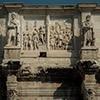 Łuk triumfalny cesarza Konstantyna Wielkiego, postacie Daków i scena ukazująca cesarza Marka Antoniusza w trakcie wojen naddunajskich