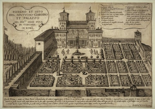 Drawing from approx. 1600 showing the casino and gardens of the Villa Medici
