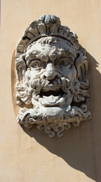 Gardens of the Villa Medici, one of the mascarons placed in the gardens