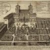 Rycina z ok. 1600 r. ukazująca casino i ogrody willi Medici