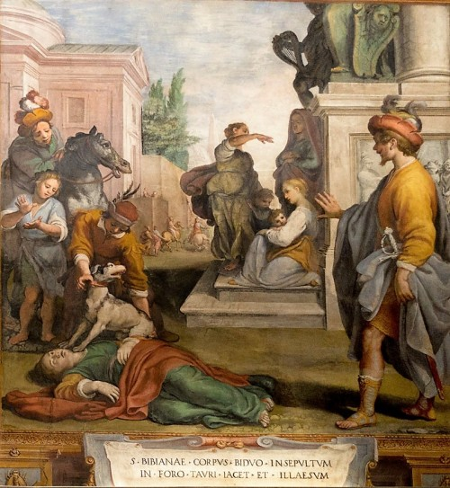 Body of St. Bibiana left for the dogs to devour, the church of Santa Bibiana, Agostino Ciampelli