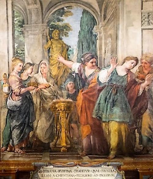 St. Bibiana and Rufina in front of pagan deities, frescoes in the church nave (Santa Bibiana), Pietro da Cotrona
