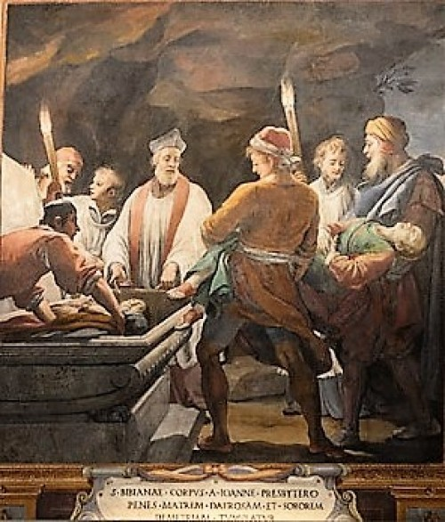 The deposition of the body of St. Bibiana into the grave, the Church of Santa Bibiana, Agostino Ciampelli