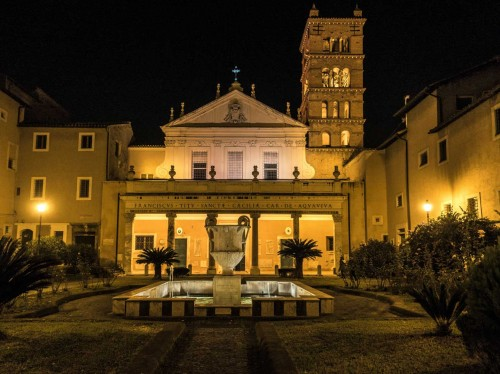 Basilica of Santa Cecilia on the Trastevere, view of the courtyard and façade