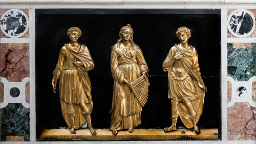 Basilica of Santa Cecilia, reliefs adorning the statue of St. Cecilia with images of Cecilia, Valerian and Tiburtius, Stefano Maderno