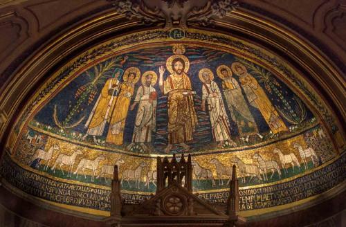 Mozaiki absydy z IX w., bazylika Santa Cecilia