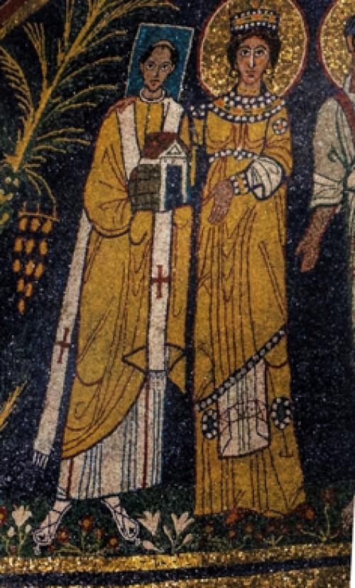 Papież Paschalis I i św. Cecylia, mozaika w absydzie bazyliki Santa Cecilia, fragment
