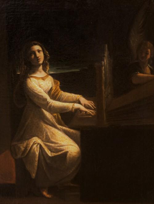 Św. Cecylia muzykująca, fragment,  Ludovico Carracci, ok. 1610 r., Musei Capitolini - Pinacoteca Capitolina