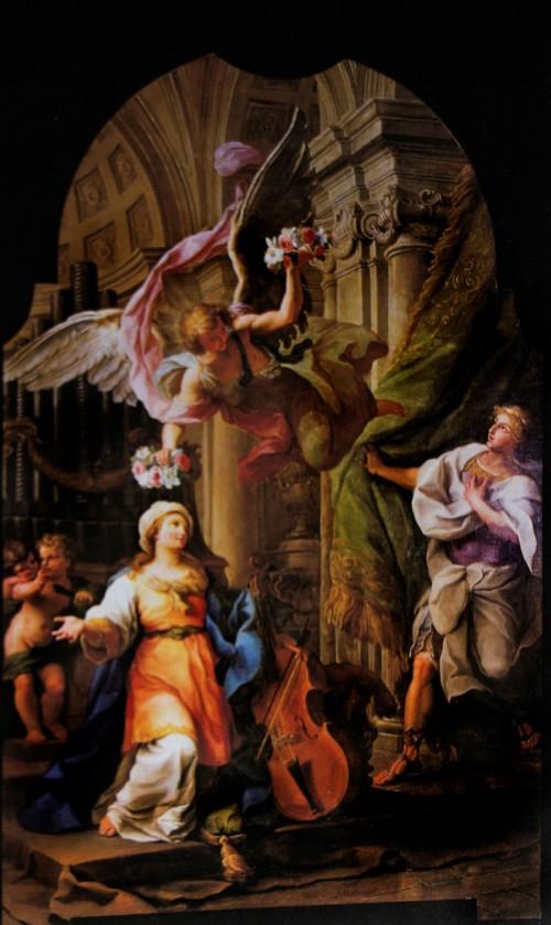 Wieńce męczeństwa niesione Cecylii i jej mężowi Walerianowi, Luigi Vanvitelli, XVIII w., bazylika Santa Cecilia