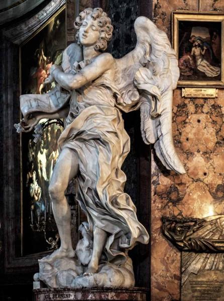 Anioł z kartuszem (tabliczką INRI), Gian Lorenzo Bernini, kościół Sant'Andrea delle Fratte