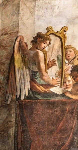 Interior of the Church of San Bibiana, musician angels at the entrance to the church, Agostino Ciampelli