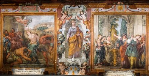Church of Santa Bibiana, series of paintings devoted to the martyrdom of St. Bibiana (Flagelantom of St. Bibiana, St. Bibiana and Rufina in front of pagan deities)