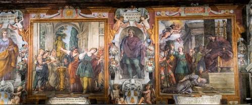 St. Bibiana and Rufina in front of pagan deities, death of St. Demetria in the church nave, Church of Santa Bibiana
