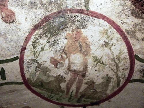Dobry Pasterz, katakumby Santi Petrus e Marcelinus w pobliżu mauzoleum Heleny
