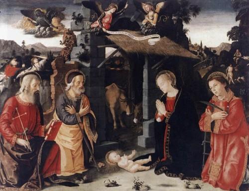 Antoniazzo Romano, Adoracja Dzieciątka przez św. Andrzeja i św. Wawrzyńca,Galleria Nazionale dell'Arte Antica, Palazzo Barberini,zdj. Wikipedia