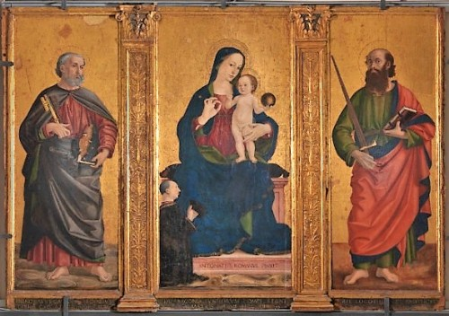 Antoniazzo Romano, Virgin and Child with the Saints Peter and Paul, the Chapel of Santa Croce, Basilica of San Pietro in Vaticano, pic. Wikipedia