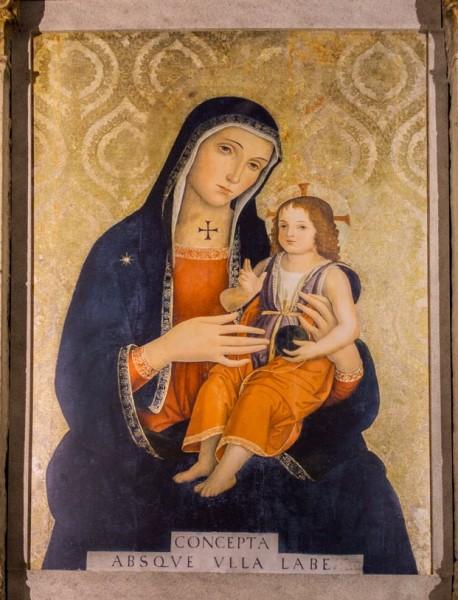 Antoniazzo Romano, Madonna z Dzieciątkiem, fresk z kaplicy kardynała Bessariona, bazylika Santi XII Apostoli