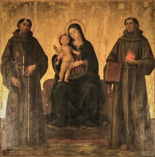 Antoniazzo Romano, Madonna z Dzieciątkiem między św. Antonim z Padwy i św. Franciszkiem z Asyżu, kościół Sant'Antonio dei Portoghesi