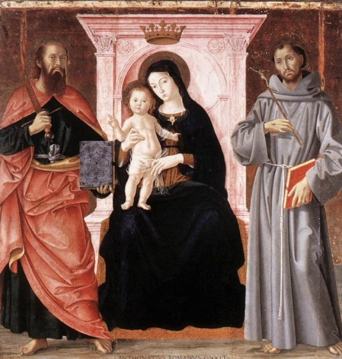 Antoniazzo Romano, Madonna z Dzieciątkiem między św. Pawłem i św. Franciszkiem, Galleria Nazionale dell'Arte Antica,Palazzo Barberini. zdj. Wikipedia