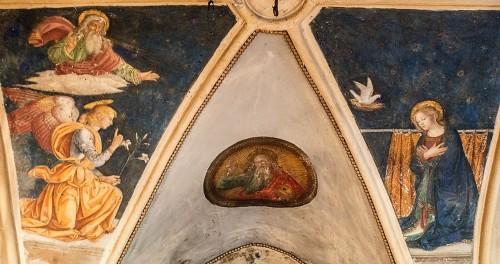 Antoniazzo Romano, scena Zwiastowania, boczna kaplica w kościele Sant'Onofrio