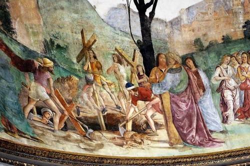 Antoniazzo Romano, Legenda Świętego Krzyża, fragment, Cudowne odnalezienie trzech krzyży, bazylika Santa Croce in Gerusalemme, zdj. Wikipedia