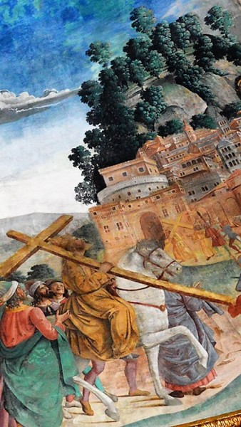 Wonderful finding of three crosses, Emperor Heraclius on his way to Jerusalem, fragment, Antoniazzo Romano, Basilica of Santa Croce in Gerusalemme, pic. Wikipedia