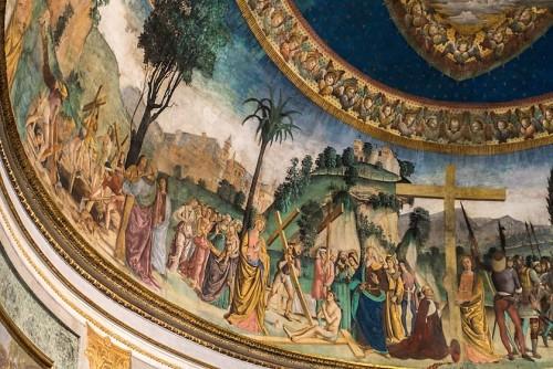 Legenda Świętego Krzyża, cesarzowa Helena w partii środkowej, fragment, Antoniazzo Romano, bazylika Santa Croce in Gerusalemme