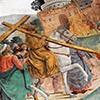 Legenda Świętego Krzyża, cesarz Herakliusz w drodze do Jerozolimy, fragment, Antoniazzo Romano, bazylika Santa Croce in Gerusalemme , zdj. Wikipedia
