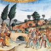 Legenda Świętego Krzyża, cesarz Herakliusz walczący z synem perskiego króla, fragment, Antoniazzo Romano, bazylika Santa Croce in Gerusalemme