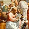 Rafael, Szkoła ateńska, grupa skupiona wokół Pitagorasa, fragment, apartamenty papieża Juliusza II, Pałac Apostolski, zdj. Wikipedia