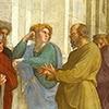 Szkoła ateńska, Rafael, Sokrates (w oliwkowej szacie), Alkibiades (w zbroi) i Ksenofont, apartamenty papieża Juliusza II, Pałac Apostolski