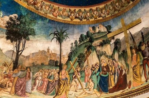 Święta Helena w dwóch odsłonach (modląca się i podtrzymująca krzyż), Antoniazzo Romano, bazylika Santa Croce in Gerusalemme