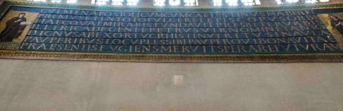 Mozaika dedykacyjna papieża Celestyna I nad drzwiami wejściowymi, bazylika Santa Sabina