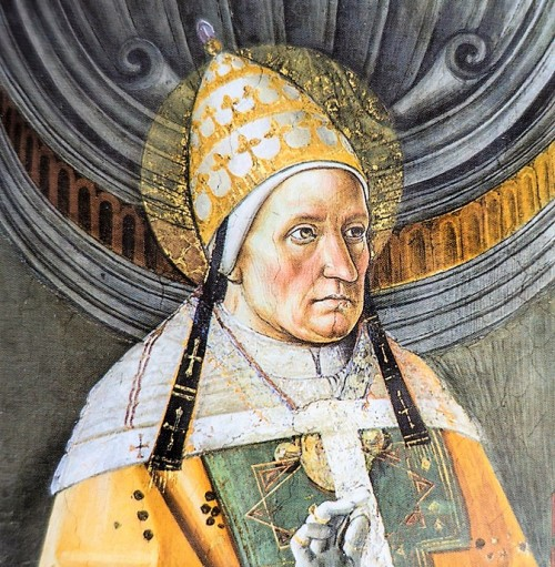 Pope Alexander I, decoration between the windows, Pietro Perugino, fragment, Sistine Chapel