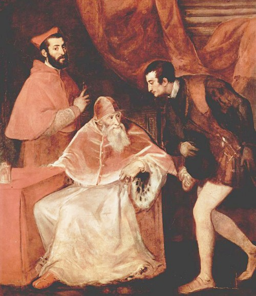 Portrait of Pope Paul III with grandsons – nepots, Titian, pic. Wikipedia