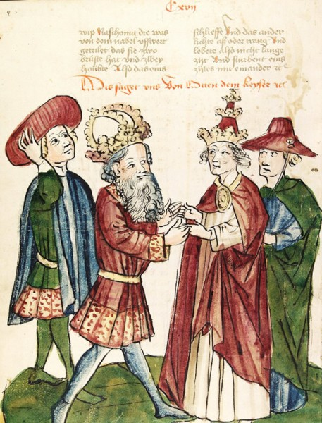 Meeting of Otto I and Pope John XII (after a drawing about 1450), pic. Wikipedia