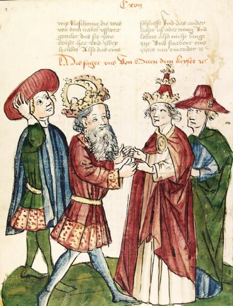 Cesarz Otton I i papież Jan XII, ok.1450 warsztat Diebolda Lauber, zdj. Wikipedia