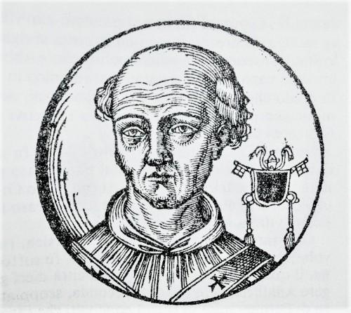 Pope John XII, figure from Le vite dei pontifici, 1710, Bartolomeo Platina
