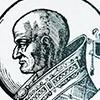 Pope Sergius III, figure from Le vite dei pontifici, 1710, Bartolomeo Platina
