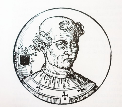 Papież Formozus, rycina z Le vite dei pontifici, 1710, Bartolomeo Platina