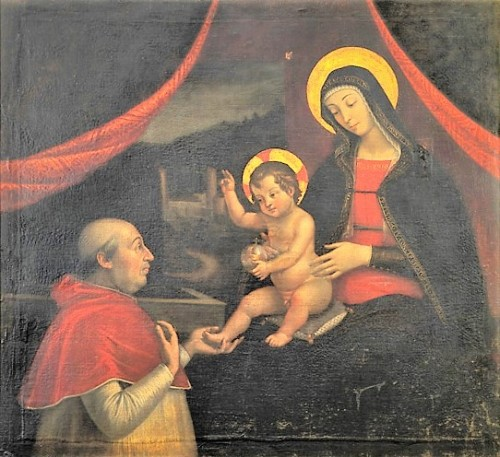 Madonna z dzieciątkiem adorowana przez papieża Aleksandra VI, Pietro Fachetti, kolekcja prywatna