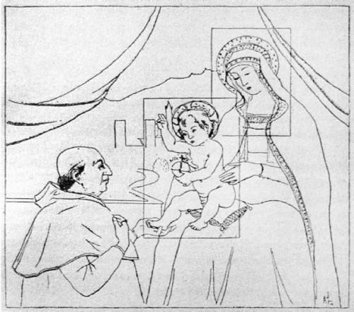 Rysunek przedstawiający fresk Pinturicchia, Agostino Incisa della Rocchetta, zdj. Wikipedia